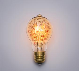 Ampoule sur papier avec schema