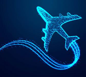 Avion lumineux sur fond bleu