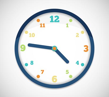 Horloge avec chiffres de couleur