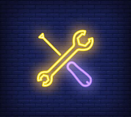 Outils croisés en néon